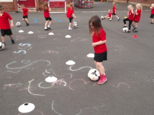 using our football skills during of game of cars.